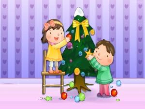 Niños armando el arbolito de Navidad