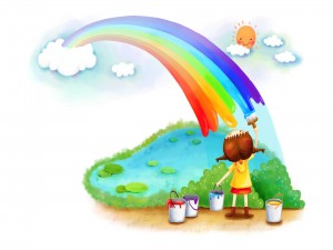 Niña pintando un arcoíris