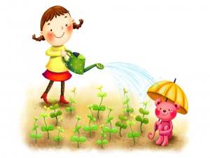 Regando las plantitas