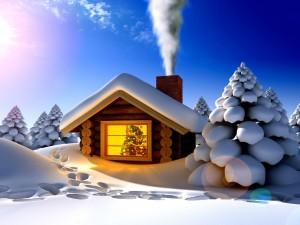 Humo saliendo de la chimenea el día de Navidad