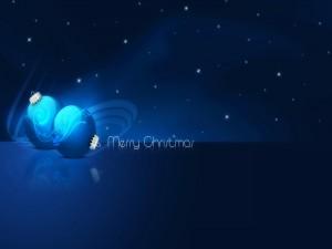 Felicitación de Navidad con bolas azules