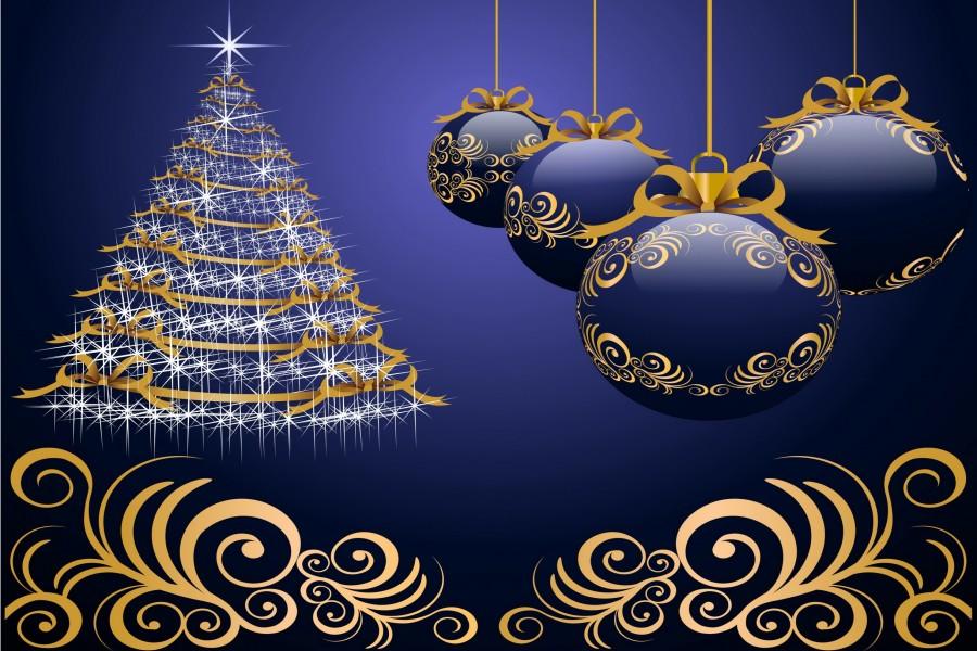 Árbol de Navidad brillando en un fondo azul