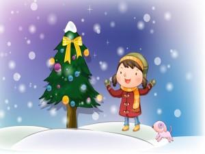 Niña feliz junto al árbol de Navidad