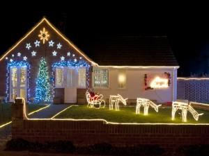 Casa decorada en Navidad