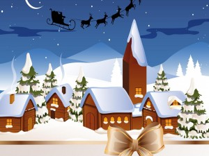 Noche de Navidad en un pueblo