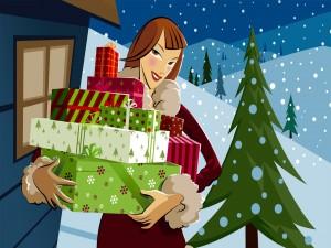 Una mujer llega con regalos navideños