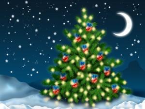 Árbol de Navidad bajo una noche estrellada