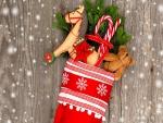 Juguetes y dulces en una bota de Navidad