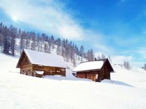 Cabañas cubiertas de nieve