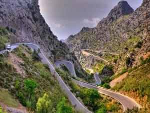Carretera de acceso a La Calobra (Mallorca)