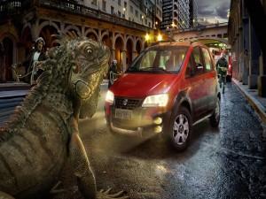 Iguana gigante en la ciudad
