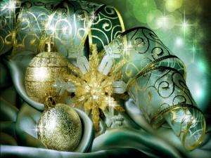 Cinta, bolas y estrella para adornar en Navidad