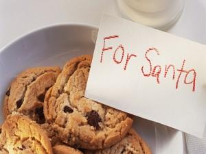 Galletas con una nota para Santa Claus