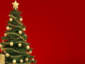 Árbol festivo de Navidad en fondo rojo