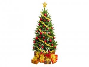Arbolito navideño junto a regalos