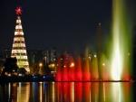 Árbol de Navidad junto a una fuente