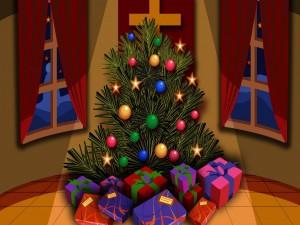 Regalos envueltos juntos a un hermoso árbol de Navidad