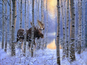 Alce caminando en un bosque cubierto de nieve