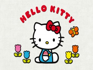 Hello Kitty entre las flores
