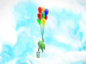 Android colgado de unos globos