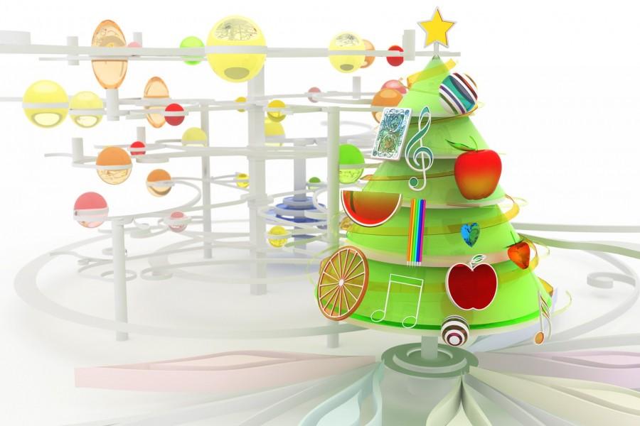 Hermoso árbol de Navidad con frutas y notas musicales