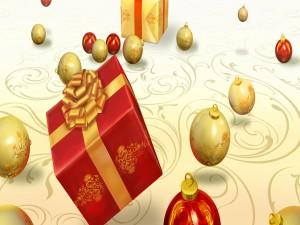 Cajas con regalos y adornos navideños