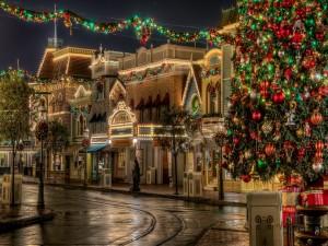 Fabulosa decoración navideña en una calle