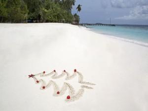 Árbol de Navidad en la arena