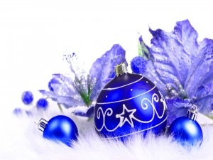 Bolas navideñas de color azul