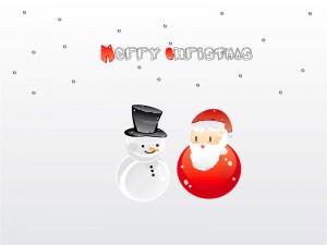 Merry Christmas! con Santa y un muñeco de nieve