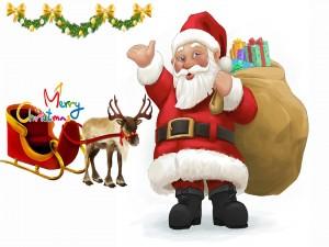 Papá Noel junto a su trineo