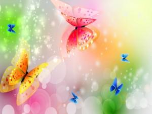 Coloridas y brillantes mariposas volando libremente
