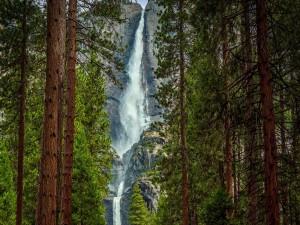Cascada en altas rocas