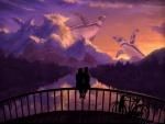 Romántica pareja sentada en el puente