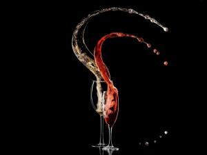 Gotas de champán y vino