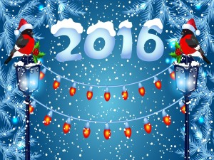 Año Nuevo 2016 cubierto de nieve