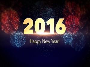 Fuegos artificiales festejando la llegada del Nuevo Año 2016