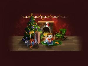 Abriendo regalos en Navidad
