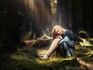 Chica en un bosque oscuro
