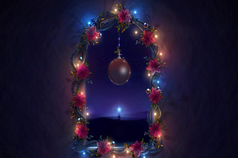 Hermosa ventana adornada por Navidad