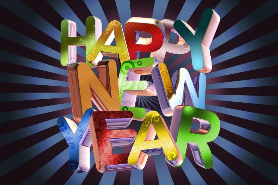 Feliz Año Nuevo con grandes letras