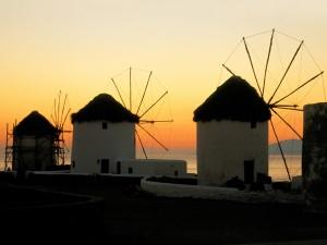 Molinos de viento en Mykonos (Grecia)