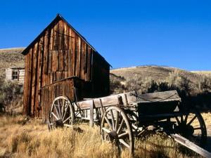 Una vieja carreta en el campo