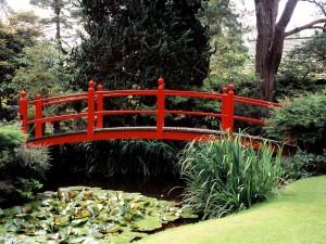 Puente rojo en un jardín oriental