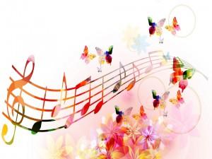 Mariposas, flores y notas musicales