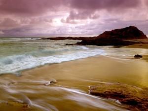 Cielo nuboso en la playa