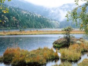 Nubes bajas en el lago
