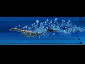Nadando en una piscina