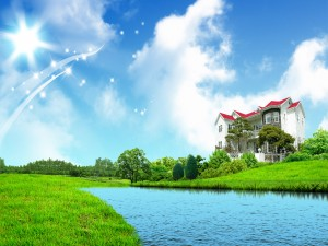 Dulce hogar frente a un canal