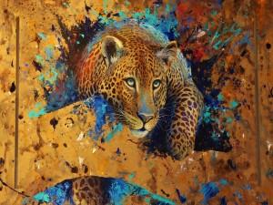 Leopardo en un fondo colorido